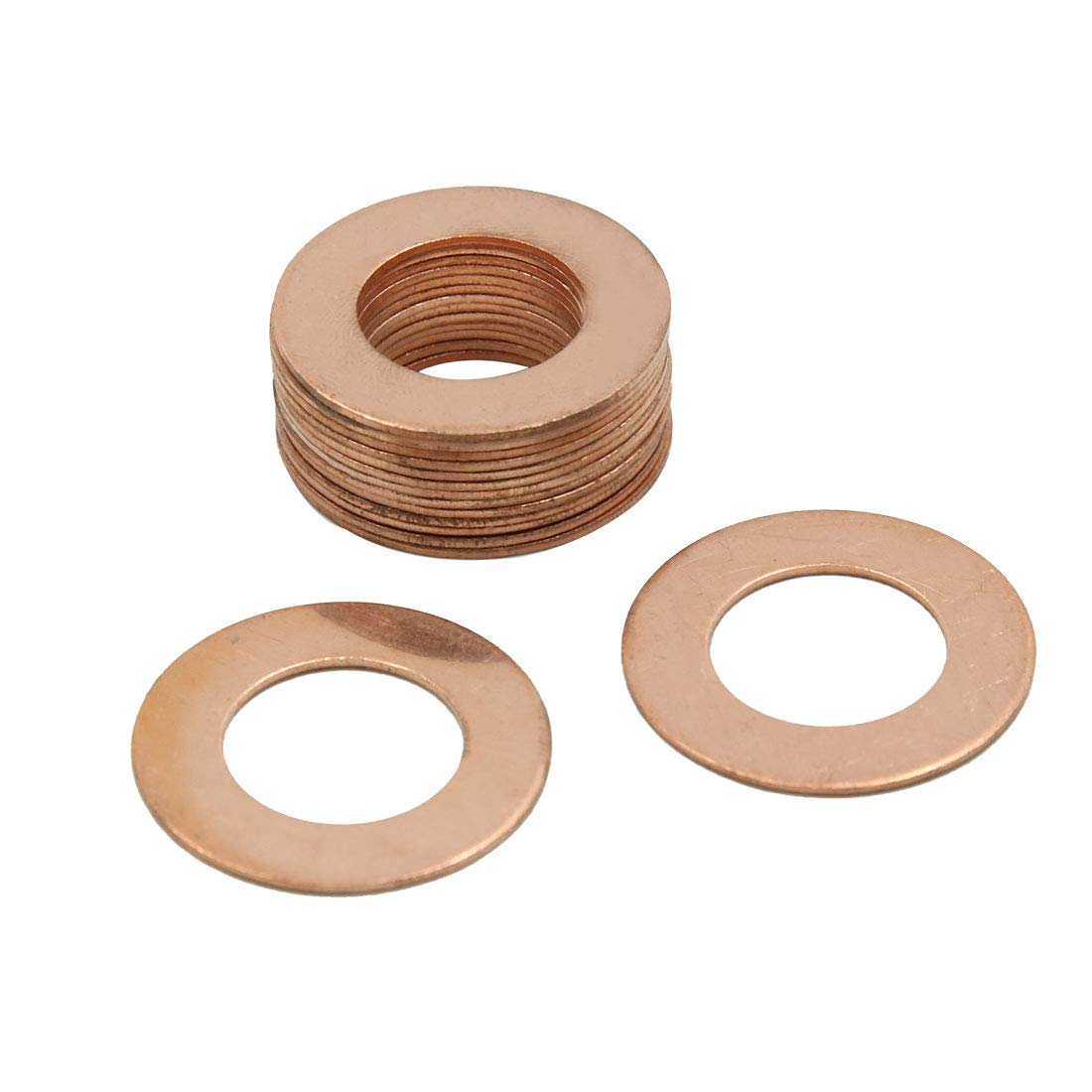 X AUTOHAUX 18mm Inner Dia Copper Crush Washers Car Flat Sealing Plate Gaskets Rings 15pcs