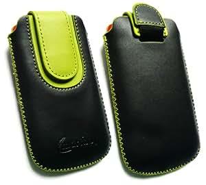 Emartbuy ® Negro / Verde Premium De Cuero Pu Diapositivas En Bolsa / Caja / Manga / Soporte (Medium Size) Con Mecanismo Pull Tab Adecuado Para 3G Lg Cookie T320