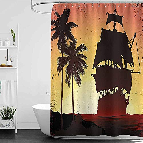 branddy Shower Curtains for Bathroom Sets Blue Pirate,Buccaneers Ship Sailing on Mysterious Waters Tropic Palm Trees Grunge,Yellow Dark Brown Coral W72 x L96,Shower Curtain for Shower stall