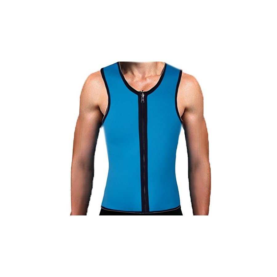 Mens Slimming Body Shaper Vests Shirt Abdomen Slim Sauna Tank Top Vest with Zip