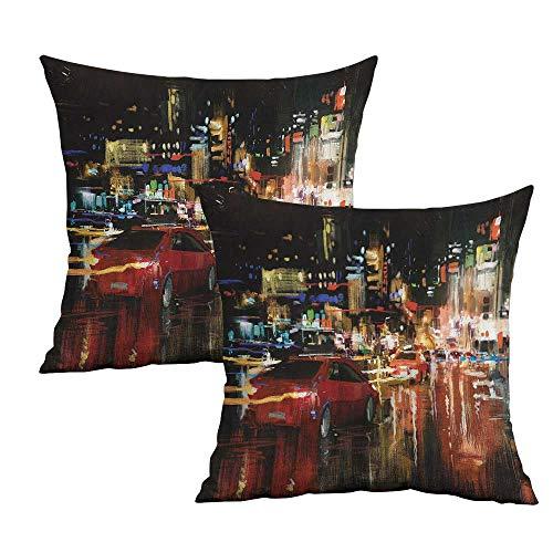 Khaki home City Square Standard Pillowcase Urban Life Scene Hectic Night Square Body Pillowcase Cushion Cases Pillowcases for Sofa Bedroom Car W 24