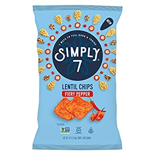 Simply 7 Lentil Chips, Fiery Pepper, 4 Ounce (Pack of 12)