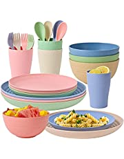 Wheat Straw Dinnerware Sets, 24pcs Lightweight & Unbreakable Dishes, Microwave & Dishwasher Safe Tableware, Perfect for Bowls,Cups,Plates Set Reusable Dinner Plates Bowls set