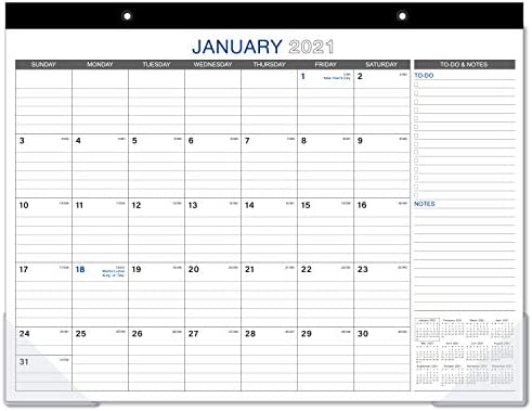Academic -Family- Business Small Wordsworth /& Black 2020 Monthly Desk//Wall Calendar 17 x 12- Desktop Pad Blotter with Notes Section Perfect for Planning and Organizing for Home or Office -