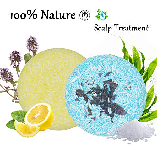 (100% Natural Shampoo Bar for Hair 2 Pieces Solid Shampoo Soap for Treated Dry Damaged Hair Vegetarian Plant Essence Helps Stop Hair Loss and Promotes Healthy Hair Growth 4.2oz (Lemon & Seaweed))