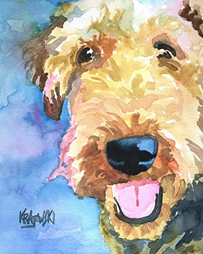 (Airedale Terrier Dog Fine Art Print on 100% Cotton Watercolor Paper)