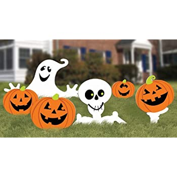 """Amscan Family Friendly Skeleton and Ghost Corrugate Yard Stake Signs Halloween Trick or Treat Party Outdoor Decoration, Plastic, 20"""" x 16"""", Pack of 6."""
