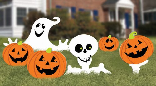 [Family Friendly Skeleton and Ghost Corrugate Yard Stake Signs Halloween Trick or Treat Party Outdoor Decoration, Plastic, 20