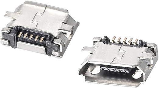 sourcing map 50Pcs Micro USB Connecteur femelle Port 5 broche adaptateur R/éparation 180 degr/é