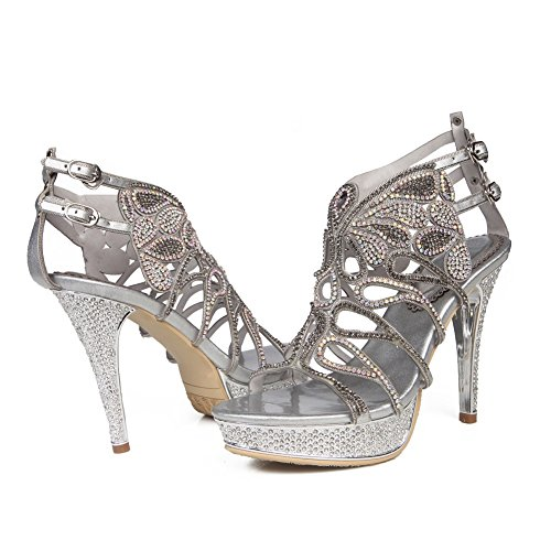 High Diamante Low Strappy Señoras Silver Party ZPL Heel Mujeres Mid Tamaño Zapatos Sandalias Prom Prom Ix055Yw