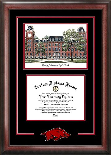 (Campus Images AR999SG University of Arkansas Spirit Graduate Diploma Frame with Lithograph Print, 8.5