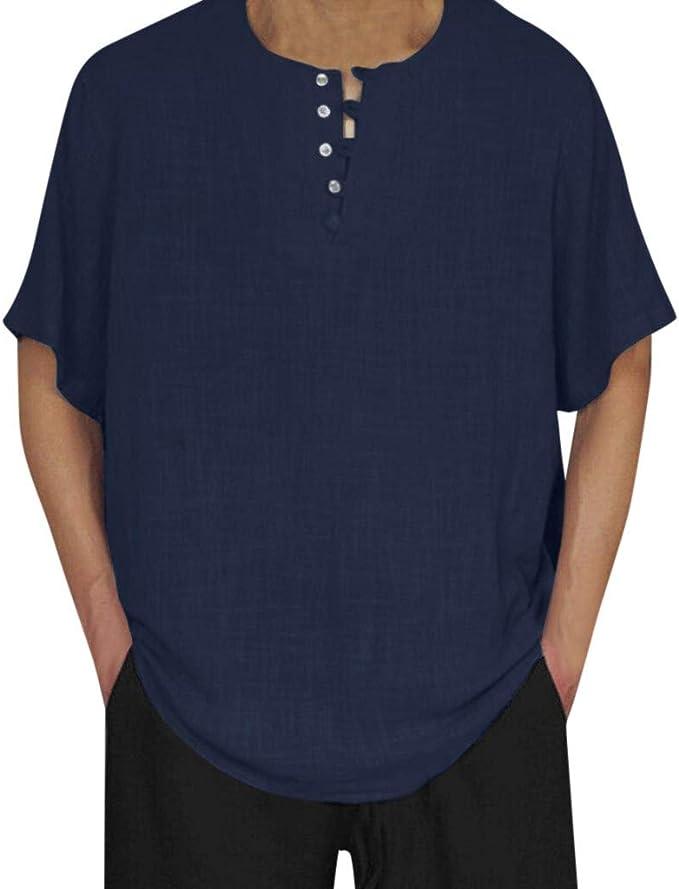 SHJIRsei Hombre Camisetas Verano Deportivo Camisetas Baggy Cotton Linen Color sólido Manga Corta Blusa Retro Tops Camisa de Botones Camisetas: Amazon.es: Ropa y accesorios