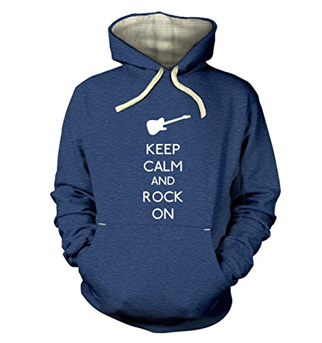 """Keep Calm And Rock On Hoodie (premium) - Heather Royal XX Large (51"""" Chest)"""
