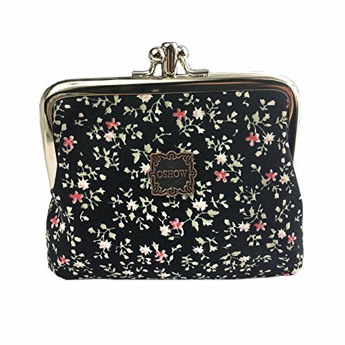OSHOW Womens Canvas Floral Coin Purse Buckle Clutch Pouch Small Wallet, Black Floral -