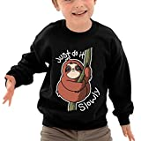 Puppylol Just Do It Slowly Kids Classic Crew-neck Pullover Sweatshirt Black