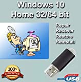Software : Windows 10 Home 32-64 Bit Install | Boot | Recovery | Restore USB Flash Drive Disk Perfect for Install or Reinstall of Windows