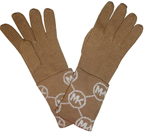 Michael Kors Women's Circle Logo Knit Cuffed Gloves, Camel / Cream, One Size