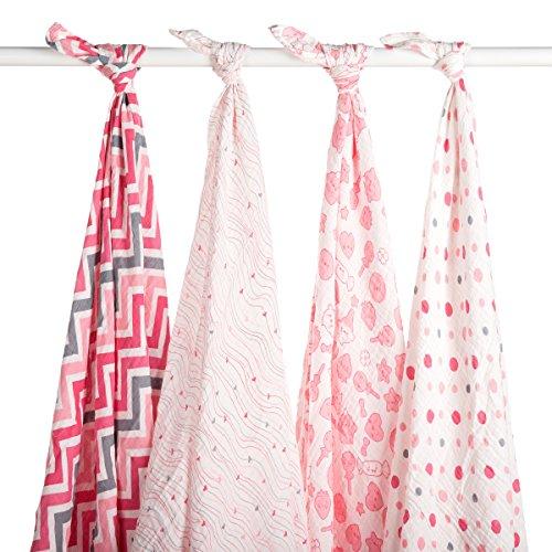 Blisscosy Silky Soft Classic Large Muslin Swaddle Blanket, 4