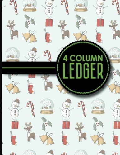 4 Column Ledger: Accounting Ledger, Accounting Journal Ledger, Bookkeeping Ledger Paper, Christmas Cover, 8.5