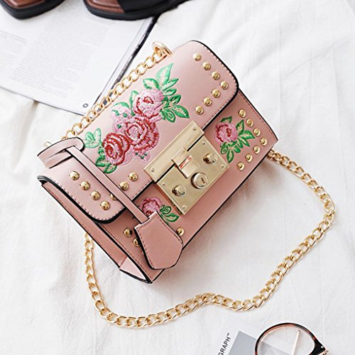 Women Embroidery by Bags Messenger Chain Black Bags Shoulder Fashion Rose Body Pink Crossbody Bags Kolylong S4qAwRSx