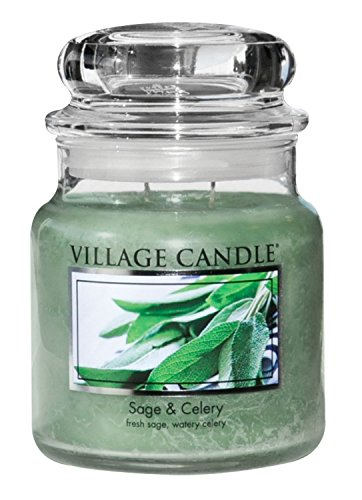 (Village Candle Sage & Celery 16 oz Glass Jar Scented Candle, Medium,)