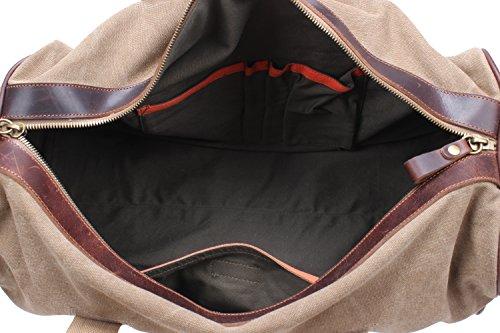 Iblue Canvas Weekender Duffel Tote Leather Trim Travel Luggage Sports Gym Bag 21in #i521 (XL, khaki) by iblue (Image #7)