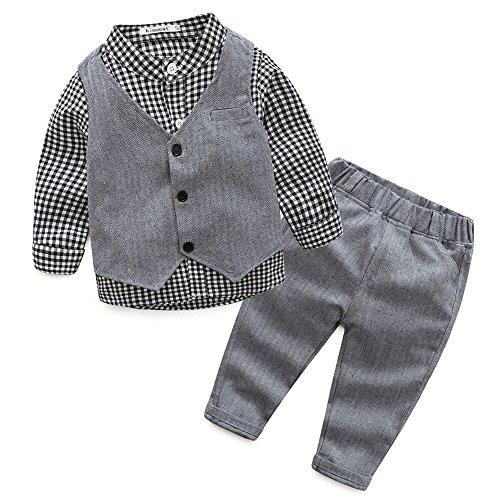 Baby Boy Vest Set Plaid Suit Shirt Pants Bowtie Gentleman Toddler Clothes Outfit (Plaid Suit Cotton)