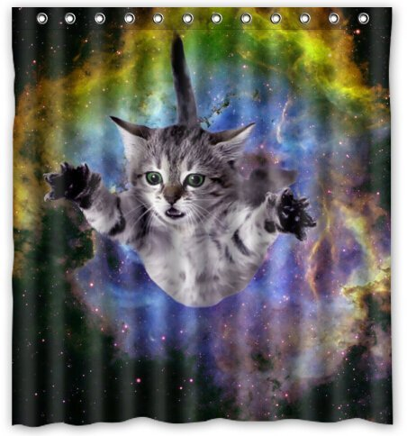 Space cat water proof polyester fabric 66 x 72 shower for Space cat fabric