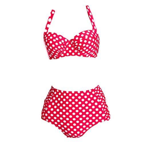 Telaura 2016 New Arrival Vintage Hot Pink Polka Dot High Waist Bottom Bikini Set Push Up Swimsuit Fashion Swimwear for Women (2XL, Hot Pink)