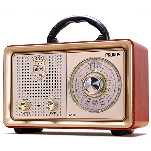 PRUNUS J-110 Retro AM FM Portable Radio, Vintage Bluetooth Speaker with 3-Way Power Sources, Big Frequency Scale, Enhanced Bass, Remote Control, AUX TF Card USB Disk MP3 Player(Gold)