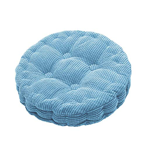 Outdoor Round Seat Cushions EPE Cotton Filled Boosted Cushion Indoor Chair Cushions for Home Office Kitchen (Blue, 17.72