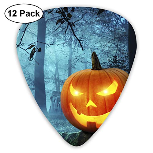 (Halloween Kürbis in Schauriger Umgebung Bei Mondschein Bendy Ultra Thin 0.46 Med 0.73 Thick 0.96mm 4 Pieces Each Base Prime Plastic Jazz Mandolin Bass Ukelele Guitar Pick Plectrum)