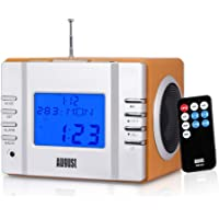 August MB300 Mini Wooden MP3 Stereo and FM Clock Radio, with SD Card Reader, USB Port and AUX Jack - Rechargeable Portable Speaker with Remote Control