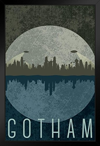 Gotham City Skyline Fantasy Travel Black Wood Framed Poster 14×20 inch