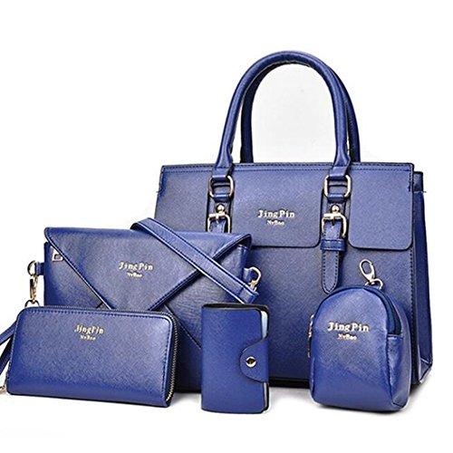 5 La Pièces Newbestyle Femmes Bleu monnaie Femme Main Porte Cuir Foncé Carte Epaule En Sac A Mode De 5wxFBqH6x