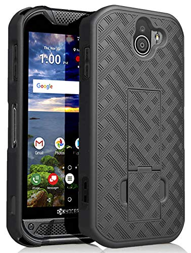newest collection 49c3a 9ae36 Kyocera Duraforce Pro 2 Case, Nakedcellphone [Black Tread] Slim Ribbed  Rubberized Hard Shell Cover [with Kickstand] for Kyocera Duraforce Pro-2  Phone ...