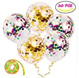 Confetti Balloons, HOOHII 20Pcs Gold Confetti Balloons 12 Inches Party Balloons with Ribbon Confetti Dots for Party Suppliers Wedding Balloons Christmas Decorations
