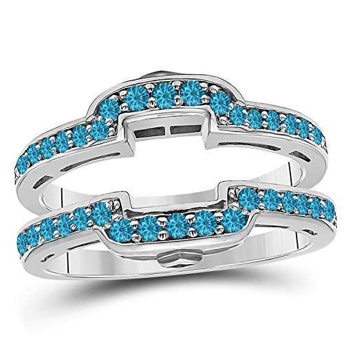 (14k White Gold Plated Alloy Square Halo Style Engagement Wedding Enhancer Ring Guard with CZ Blue Topaz (0.50 ct. tw.))
