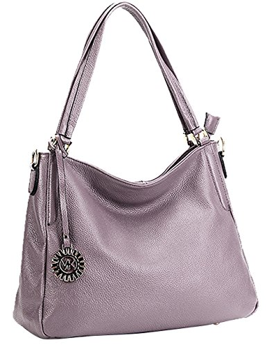 Menschwear Sac à main en cuir véritable avec sac à bandoulière violet clair