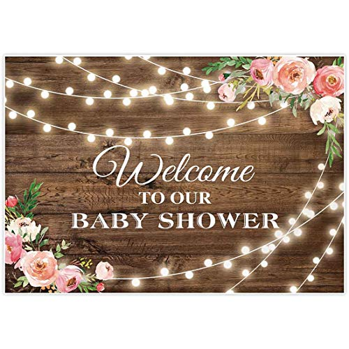 Allenjoy 7x5ft Rustic Floral Wooden Backdrop Wrinkle Free Baby Shower Bridal for Studio Photography Pictures Brown Wood Floor Flower Wall Background Newborn Birthday Party Banner Photo Shoot Booth