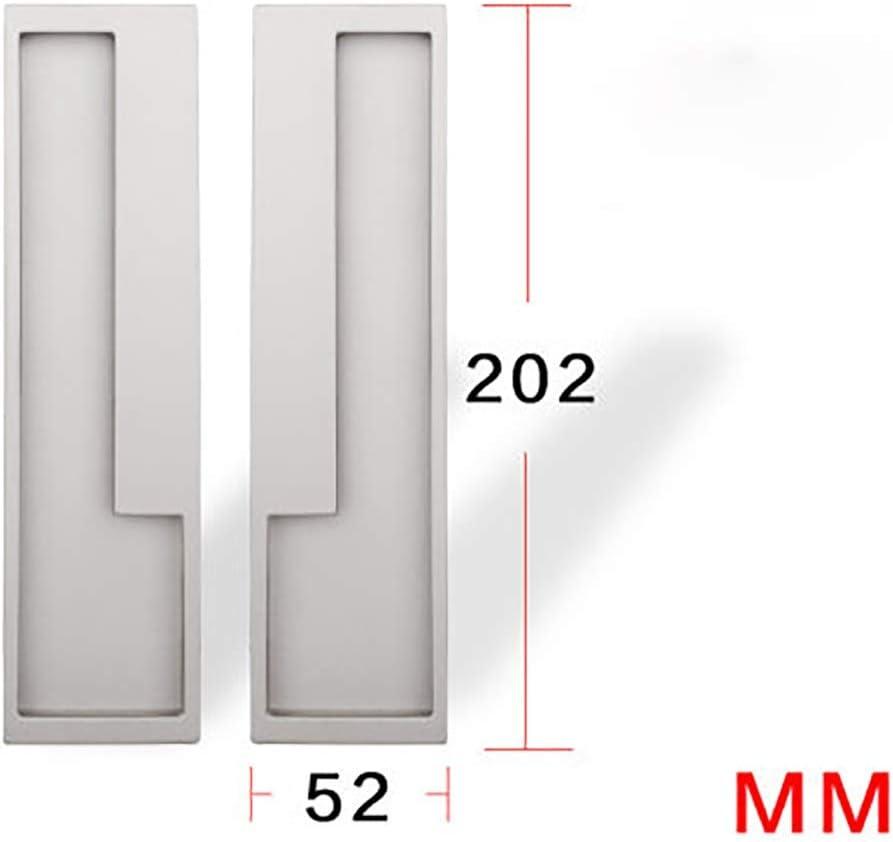 BESTSOON-BE - Tirador de Puerta corredera de Metal para Puerta corredera Minimalista Invisible Plegable para Puerta de Armario empotrada Oculta, Metal, Plateado, 202×52mm: Amazon.es: Hogar