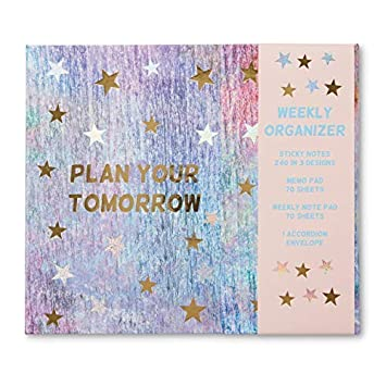 weekly planner organizer desk set with magnetic closure tri fold