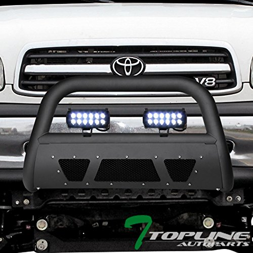 Topline Autopart Matte Black Studded Mesh Bull Bar Brush Push Front Bumper Grill Grille Guard With Skid Plate + 36W CREE LED Fog Lights For 99/00-06 Toyota Tundra ; 01-07 Sequoia