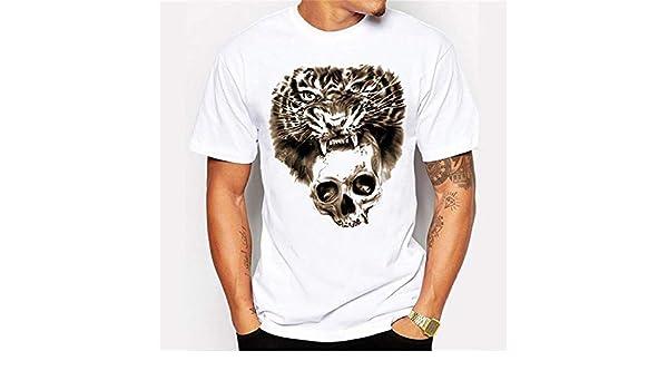 Yiren Moda Camisa Estampada con Estampado de Calavera Tigre 3D de la Personalidad Camiseta Blanca de Manga Corta for Hombre (Color : White, Size : XXL): Amazon.es: Deportes y aire libre