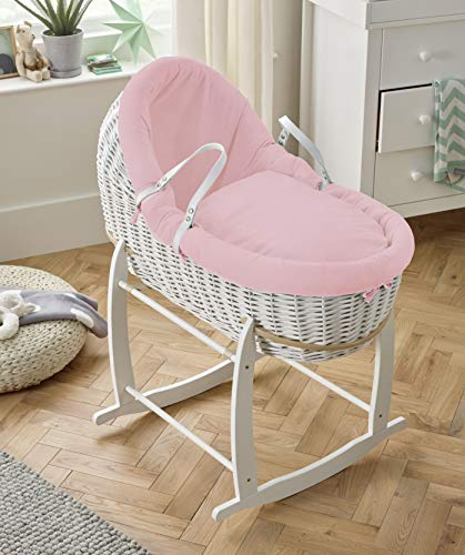 Clair de Lune Cotton Dream White Moses Basket Willow Bassinet, with Stand (Pink)
