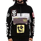 Hudson Riot Patchy Men's Half-Zip Hoodie Black h5051799-blk (Size XL)