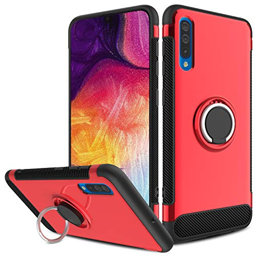 Samsung Galaxy A50 Case, Yunerz Slim Dual Layer Hybrid Defender Armor 360 Degree Rotating Ring Kickstand Protective Case with Magnetic Case Cover for Samsung Galaxy A50 6.4inch (red) ()
