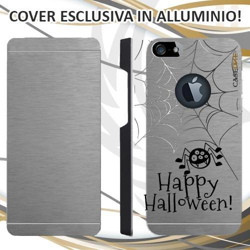 CUSTODIA COVER CASE HAPPY HALLOWEEN PER IPHONE 5 ALLUMINIO TRASPARENTE