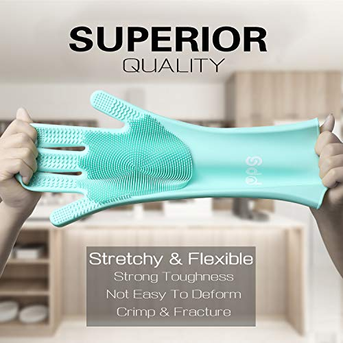 Cleaning Sponge Gloves, Silicone Reusable Cleaning Brush Heat Resistant Double Sided Scrubber Gloves for Housework, Dishwashing, Kitchen Clean, Bathroom, Bathing, Car Washing, Window Cleaning- Green