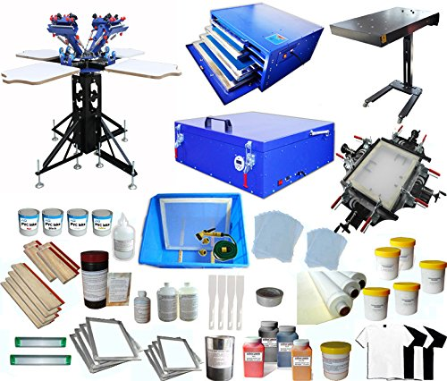 4-4 Screen Printing Press with Materials Package Starter Whole Screen Printing Kit T-shirt Printing by Screen Printing Kit